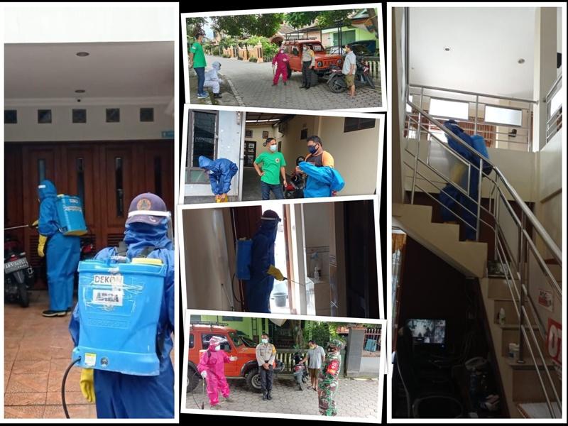 Penyemprotan Desinfektan dalam rangka Pencegahan COVID 19 di wilayah Kelurahan Rejowinangun