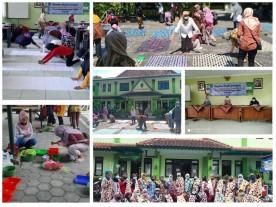 Berlatih bersama membuat Varian Batik Shibori di Pelatihan Cluster Kerajinan  Kelurahan Rejowinangun